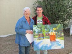 62nd Annual Arts and Crafts Festival chair Jaca McLaren with poster artist Ron Thomson. #artsandcrafts #fairhope