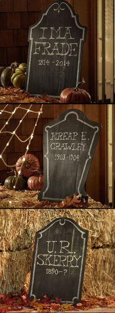 Chalkboard Tombstones offer a final resting place for names, dates and delightfully frightful phrases.  You can print with Emily Binx' tombstone eulogy.