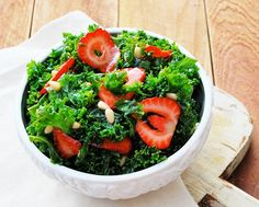 Kale Salad with Strawberries + Grilled Chicken