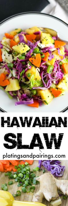 Bright & Tangy Hawaiian Slaw is perfect for potlucks or summer BBQs! Replace the honey with agave for vegan option. Hawaiian Coleslaw, Hawaiian Bbq, Hawaiian Parties, Hawaiian Theme, Hawaiian Appetizers, Hawaiian Salad, Hawaiian Dishes, Hawaiian Recipes, Clean Eating
