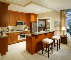 Interior Ideas For modern Kitchen With Marble Countertop And Wooden Cabinets Also Gas Stove And Oven With Fridge