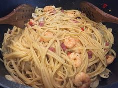 Delicious linguine with prawns and pancetta Linguine, Some Recipe, Prawn, Love Food, Recipes, Recipies, Ripped Recipes, Cooking Recipes