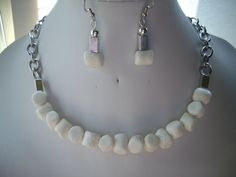 White Stone and Square Rectangular Silver by DesignsbyPattiLynn, $55.00