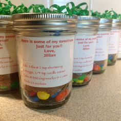 Dry ingredients for M & M cookies in a jar for your child's birthday party instead of your traditional goodie bag.
