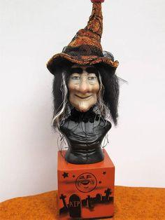 Halloween Hand Sculpted Clay Witch OOAK Mixed Media Folk Art Witch Hair, Kids Blocks, Creepy Art, Black Felt, Art Dolls, Folk Art, Sculpting, Vintage Inspired, Mixed Media
