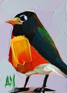 Robin no. 107 original bird oil painting by moulton
