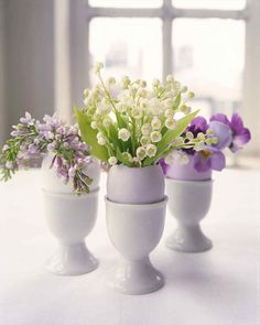 Eggshell Flower Arrangement | Martha Stewart Living - Hollowed-out eggshells make naturally beautiful vases for tiny flower arrangements.