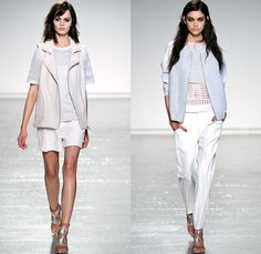 Rebecca Taylor 2014 Spring Summer Womens Runway Collection - New York Fashion Week - Sportswear Leather Mesh Multi-Panel Railroad Denim Jean...