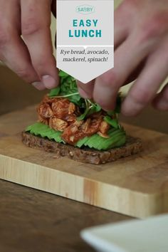 "Try our ""Green Food""  Rye bread topped with avocado, mackerelfilet with tomato sauce and spinach! Rye Bread, Greens Recipe, Tomato Sauce, Spinach, Avocado, Lunch, Beef, Easy, Food"