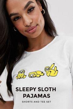 Perfect pajamas for your sloth-loving-sleep-appreciating teenager. Sloth Pajamas, Kids Pajamas, Pajamas Women, Pyjamas, Baby Sloth, Cute Sloth, T Shirt And Shorts, Pajama Shorts, Sloth Sleeping