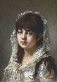 Portrait of a young girl wearing a white veil-Alexei-Harlamoff