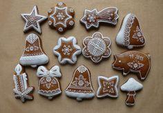 Dekoratívne medovníky - Fotoalbum - Vianočné Ginger Cookies, Vintage Cookies, Royal Icing, Cookie Decorating, Gingerbread Cookies, Fondant, Christmas Decorations, Decorated Cookies, Cupcakes