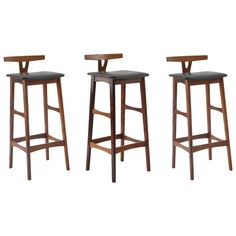 Three Solid Rosewood Barstools by Dyrlund | From a unique collection of antique and modern stools at https://www.1stdibs.com/furniture/seating/stools/