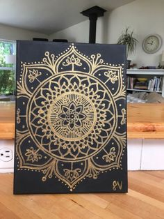 Black and Gold Mandala Canvas Painting by MuseArtwork on Etsy https://www.etsy.com/listing/399278479/black-and-gold-mandala-canvas-painting