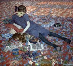 Felice Casorati (Italian, 1883-1963) - Girl on a Red Carpet, 1912