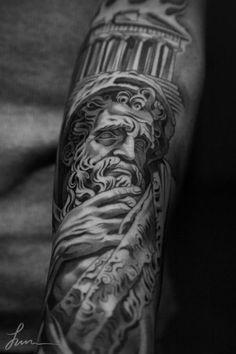 Jun Cha Greek marble philosopher tattoo.