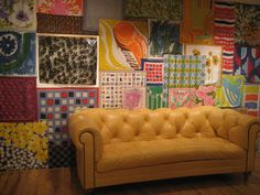 Colorful wall Spring Window Display, Sofa, Couch, Living Room Interior, Wall Colors, Love Seat, Anthropologie, Room Ideas, Interiors