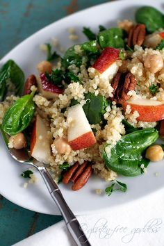 Quinoa Salad with Pears, Baby Spinach and Chick Peas in a Maple Vinaigrette by Gluten-Free Goddess. Karina's quinoa salad recipe with pears, baby spinach and chick peas in a vegan maple dressing is gluten-free. Pear Recipes, Whole Food Recipes, Vegetarian Recipes, Healthy Recipes, Free Recipes, Healthy Dishes, Vegan Dishes, Drink Recipes, Healthy Meals