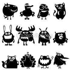 Collectie van cartoon grappige vector dieren silhouetten — Stockillustratie #8620018
