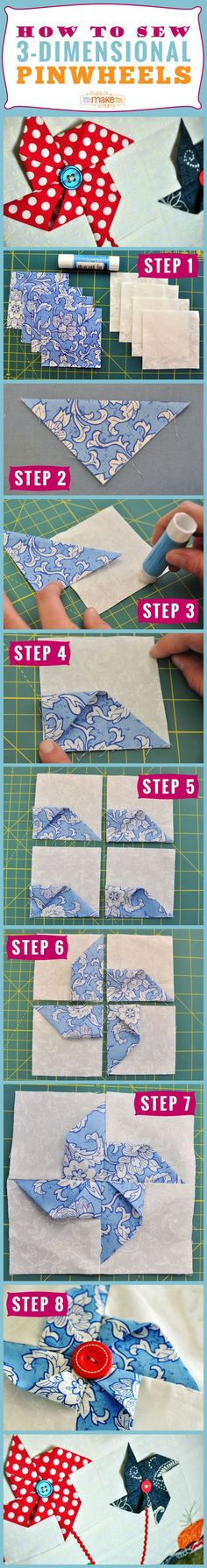 How to Make 3-D Pinwheels   Sewing Pattern Articles   YouCanMakeThis.com