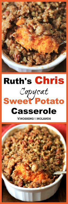 Ruth' Chris Copycat Sweet Potato Casserole by Noshing With The Nolands - Have you had the pleasure to indulge at a Ruth's Chris Restaurant? I have and one of my favorite sides is this Ruth's Chris Copycat Sweet Potato Casserole. Potato Dishes, Vegetable Dishes, Food Dishes, Side Dishes, Dishes Recipes, Main Dishes, Thanksgiving Recipes, Fall Recipes, Holiday Recipes