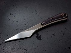Stonewood kiridashi knife. Stainless steel blade, Micarta handles with copper tubing.