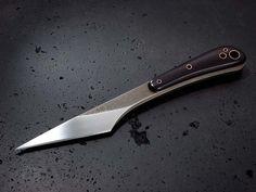 Stonewood kiridashi knife. Stainless steel blade, Micarta handles with copper tubing.