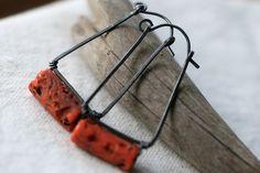 Carrot Sherpa Glass Hoops earringssherpa glass carrot par Tribalis