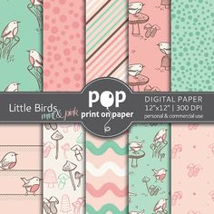 Little Birds Mint Pink  10 digital papers  by POPprintonpaper, $4.00