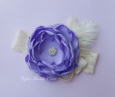 Lavender Cream headband. Couture headband. Girls headbands. Purple headband. Easter headband. Lace headband. Fancy headbands. Ott headband by SofiasBeautyCloset on Etsy