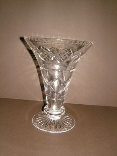 1960s Stuart Crystal Clear Crystal Flower Vase  by BiminiCricket