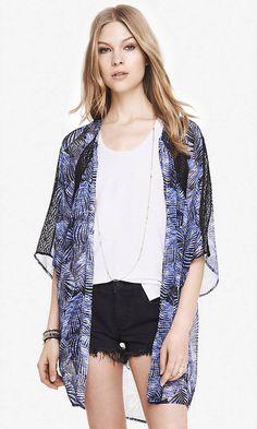 Fern Print Lace Inset Kimono   Express