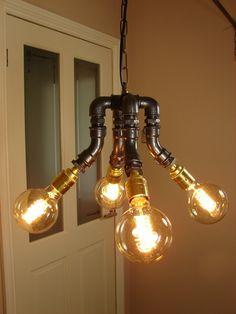 steampunk/Industrial Ceiling chandelier light includes vintage edison bulbs | eBay