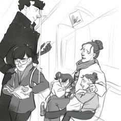 """artbylexie: """" requested the Holmes family on an outing and so I brought the whole clan! Cyril, Camille and Cecelia really do prefer the Tube to cabs (much to their father's horror)… """" Speaking of the Holmes Clan, I feel like I will. Sherlock Holmes Bbc, Sherlock Fandom, Molly Hooper, Sherlolly, Benedict Cumberbatch Sherlock, Johnlock, Book Photography, Comic Art"""