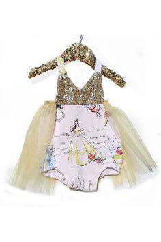 9b4d42621892 A Princess Story Gold Sparkle Tutu Romper  BelleThreadsPintrest Cute Little  Girls