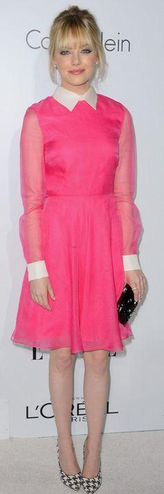 Emma Stone: Dress and purse - Valentino Shoes - Ferragamo Earrings - Neil Lane Ring - Irene Neuwirth Salvatore Ferragamo Houndstooth Genuine Python Pump