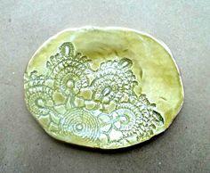 Ceramic Lace Soap dish Spoon Rest Trinket Dish Mustard yellow on Etsy, $16.00