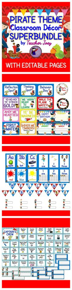 Pirate Theme: Pirate Theme: Classroom Decor: Decor: Editable: Bundle