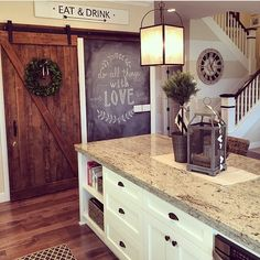 rooms for rent instagram photo - Love this kitchen view from @yellowprairieinteriors , don't you!! The barn door, the chalkboard wall, the horizontal stripes, I could go on and on! Happy Monday friends!! @yellowprairieinteriors  #whitekitchen #kitchen #chalkboard #barndoor http://instagram.com/p/zK_LMlHDJa/ via bHome https://bhome.us