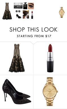 """""""a Paris night"""" by risosnuri on Polyvore featuring moda, Oscar de la Renta, MAC Cosmetics, Casadei, Lacoste y Glamour"""