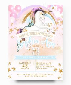 22 best unicorn birthday invitation images on pinterest unicorn