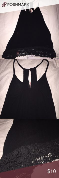 Black Tank Top Black Tank Top with lace design Tops Tank Tops
