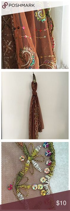 Sheer Scarf Jacobean Embroidery & Sequins Chocolate brown extra long chiffon scarf with brightly colored embroidery and glistening sequins. Like new. Unknown brand, free people for exposure. Free People Accessories Scarves & Wraps