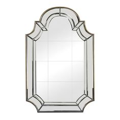 Clear and Antique Gold 46-Inch Arched and Crowned Mirror