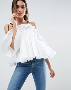 Buy it now. ASOS Premium Structured Cotton Cold Shoulder Top With Contrast Strap - White. Top by ASOS Collection, Structured woven cotton, Cold-shoulder design, Contrast straps, Flared sleeves, Relaxed fit, Machine wash, 100% Cotton, Our model wears a UK 8/EU 36/US 4 and is 176cm/5'9.5 tall. ABOUT ASOS COLLECTION Score a wardrobe win no matter the dress code with our ASOS Collection own-label collection. From polished prom to the after party, our London-based design team scour the globe to…