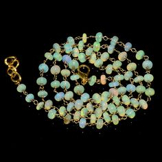 """37CRTS 4.5to5MM 24"""" ETHIOPIAN OPAL RONDELLE BEADS CHAIN NECKLACE OBI1448 #OPALBEADSINDIA"""