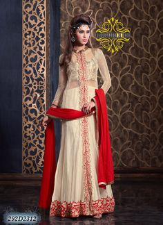 Desireable Cream & Red Coloured Semi-Stitched Anarkali Suit