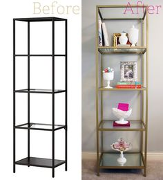 """Ikea Vittsjo Shelving Unit - spray painted gold 3 Cans Rust-Oleum Metallic Spray Paint in """"Pure Gold."""" 1 Piece of Glass. The Ikea Vittsjo comes with three glass shelves, you just need to buy one more 1 Piece of Mirror (purchased and cut at your local glass shop)"""