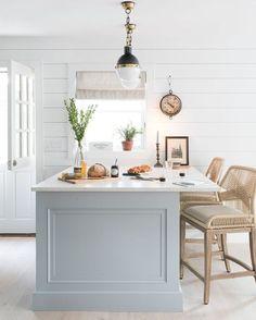 Beautiful kitchen with blue - grey island #bluekitchens #bluedecor #kitchendesign #kitchendecor #kitchenremodel #blueandwhitekitchen