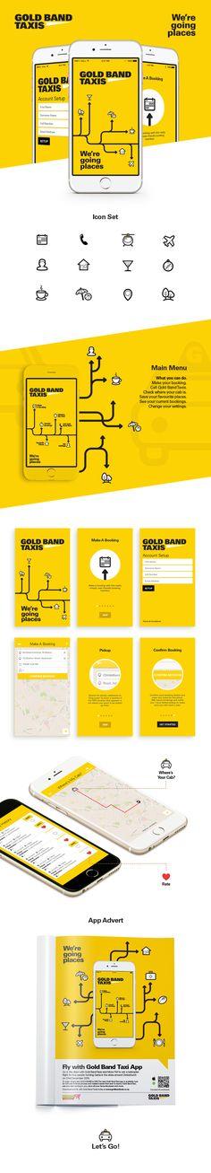 택시를 위한 어플로 노란색과 간단한 인포그래피로 보기에 편안한 느낌의 Ui를 나타내 주는 것 같다.